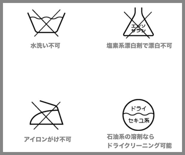 バツ印のついている洗濯絵表示